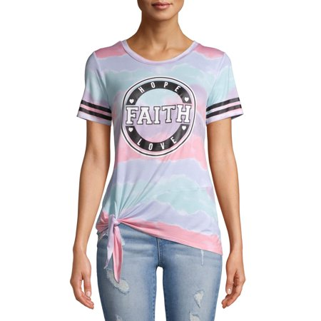 No Boundaries Juniors' Side Tie Graphic Tee Selena Juniors T-shirts