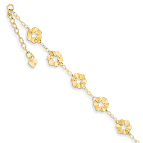 14k Yellow Gold 9in Adjustable Flower Anklet w/ 1inch extender
