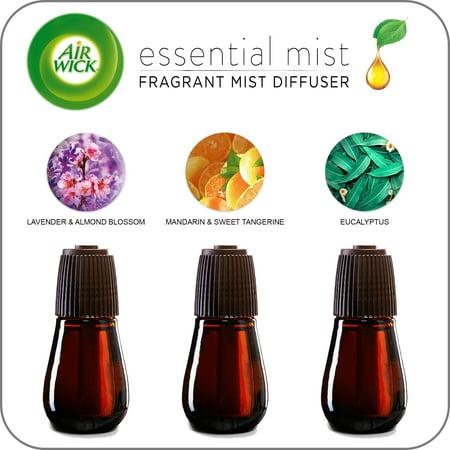 (Variety 3 pack) Air Wick Essential Mist Fragrance Oil Diffuser Refill, Mandarin & Sweet Tangerine, Eucalyptus, and Lavender & Almond Blossom ()