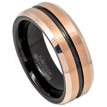 db7ff030ee2ef Jewelry Avalanche - Black & Rose Gold IP Mens Tungsten Ring, Grooved ...