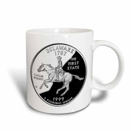 3dRose State Quarter of Delaware (PD-US), Ceramic Mug, 11-ounce
