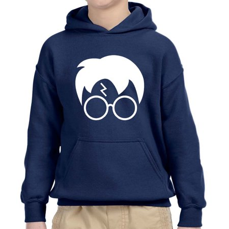 - New Way 843 - Youth Hoodie Harry Potter Hair Glasses Lightning Bolt Unisex Pullover Sweatshirt Large Navy