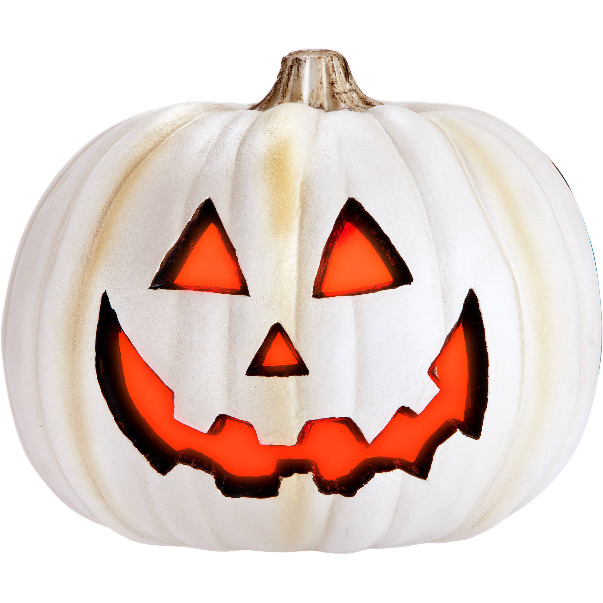 Molded Light Up Jack O Lantern, Stone Halloween Decoration