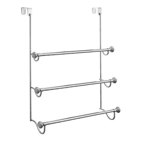 InterDesign York Over the Shower Door Towel Rack for Bathroom, Chrome/Brushed