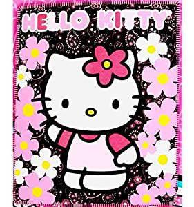 "Blanket Hello Kitty Black Sunflwers New 50x60"" Fleece Throw 70331 by FAB Starpoint"