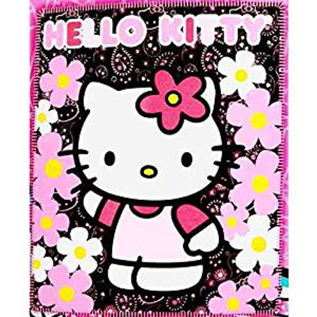 Hello Kitty Throw (Blanket - Hello Kitty - Black Sunflwers New 50x60