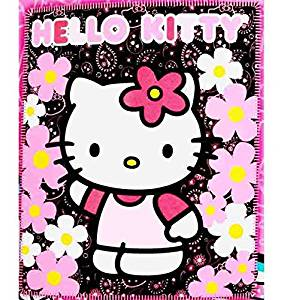 Blanket - Hello Kitty - Black Sunflwers New 50x60