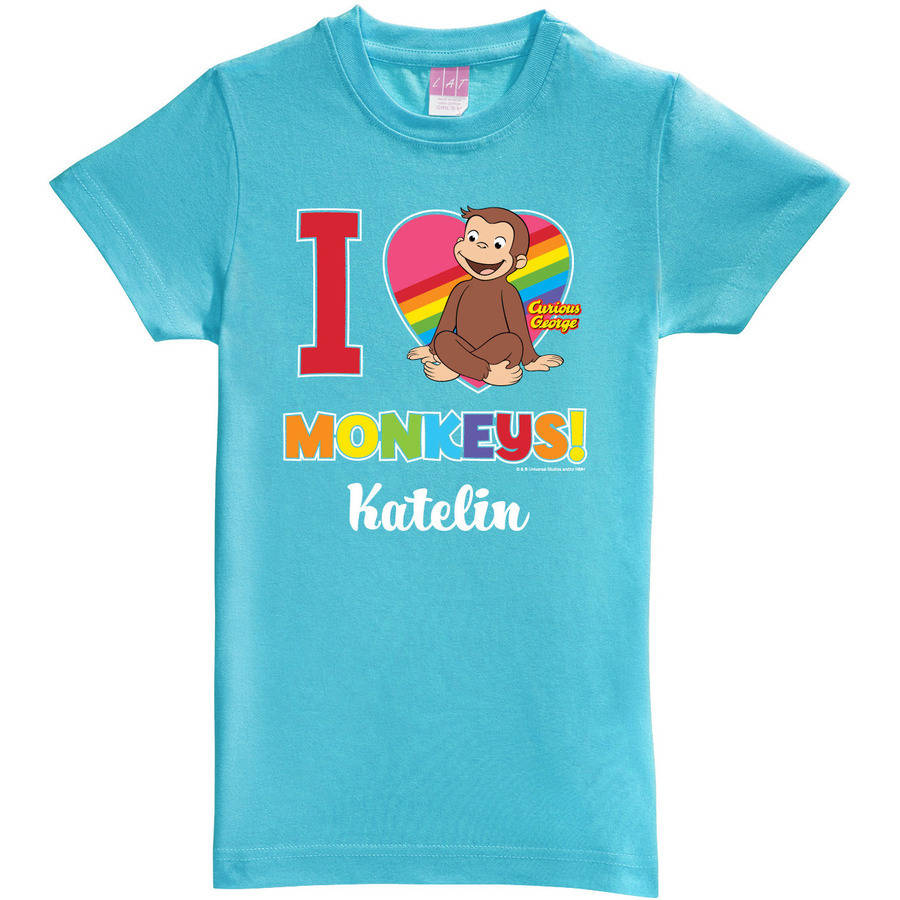 Personalized Curious George I Love Monkeys Youth Aqua Fitted Tee