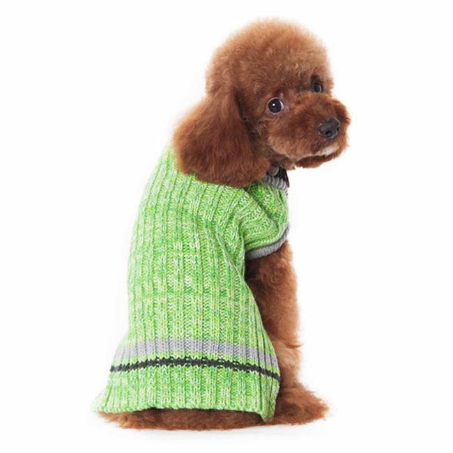 Dogo Dogo 59162gn Xl City V Neck Dog Sweater 44 Green With Gray