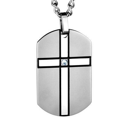 - Cubic Zirconia Cross Stainless Steel Dog Tag Pendant
