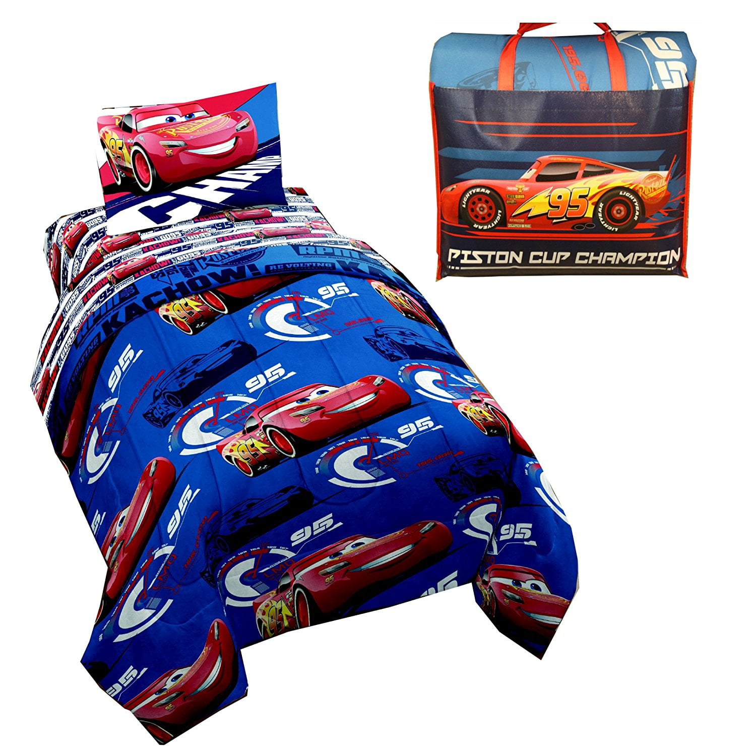 Disney Cars 4-Piece Kids Twin Bed in a Bag Bedding Sets with Bonus Tote by DISNEY PIXAR