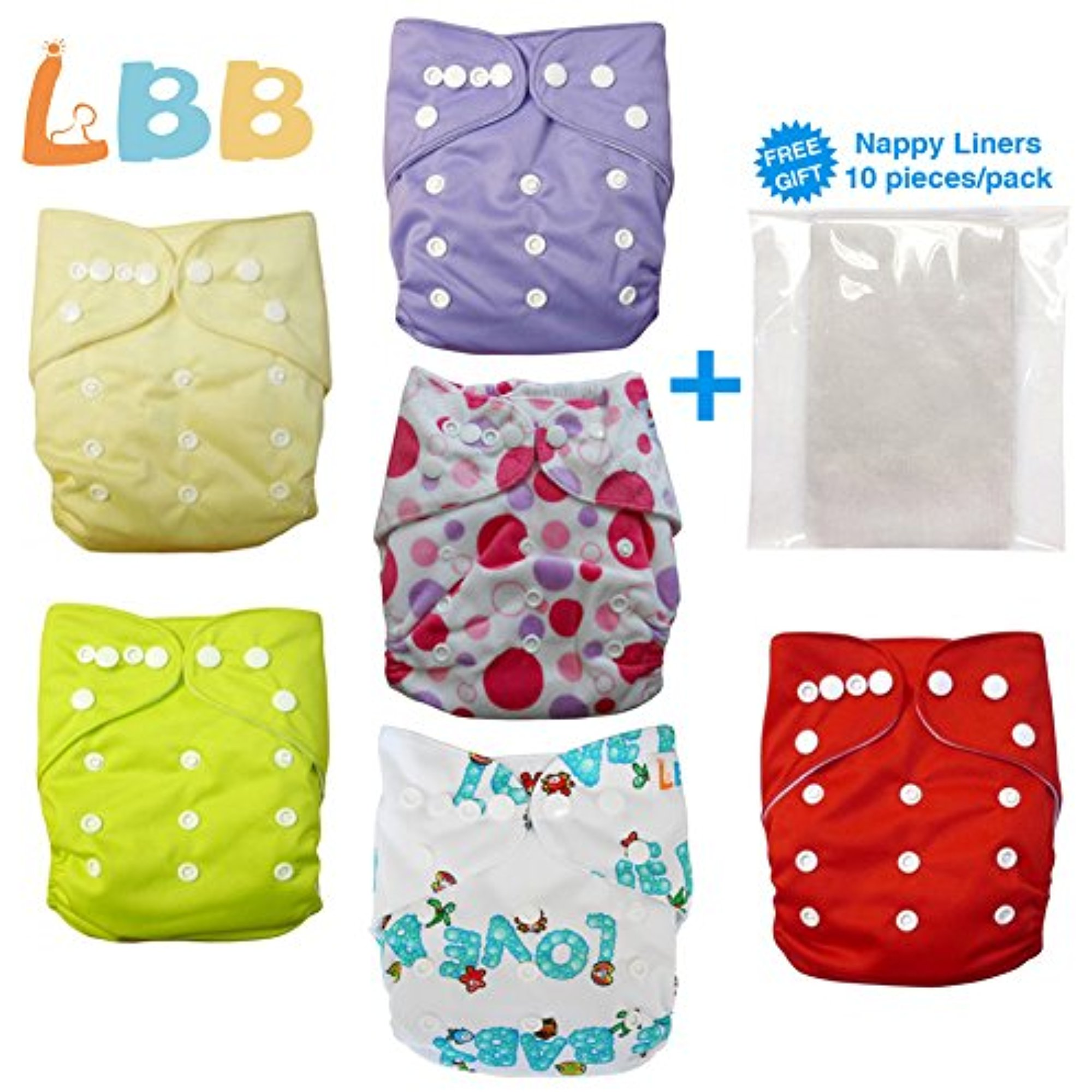 LBB Baby Cloth Diapers Pocket Diapers With Double Rows of Adjustable Snaps, 6pcs Pack