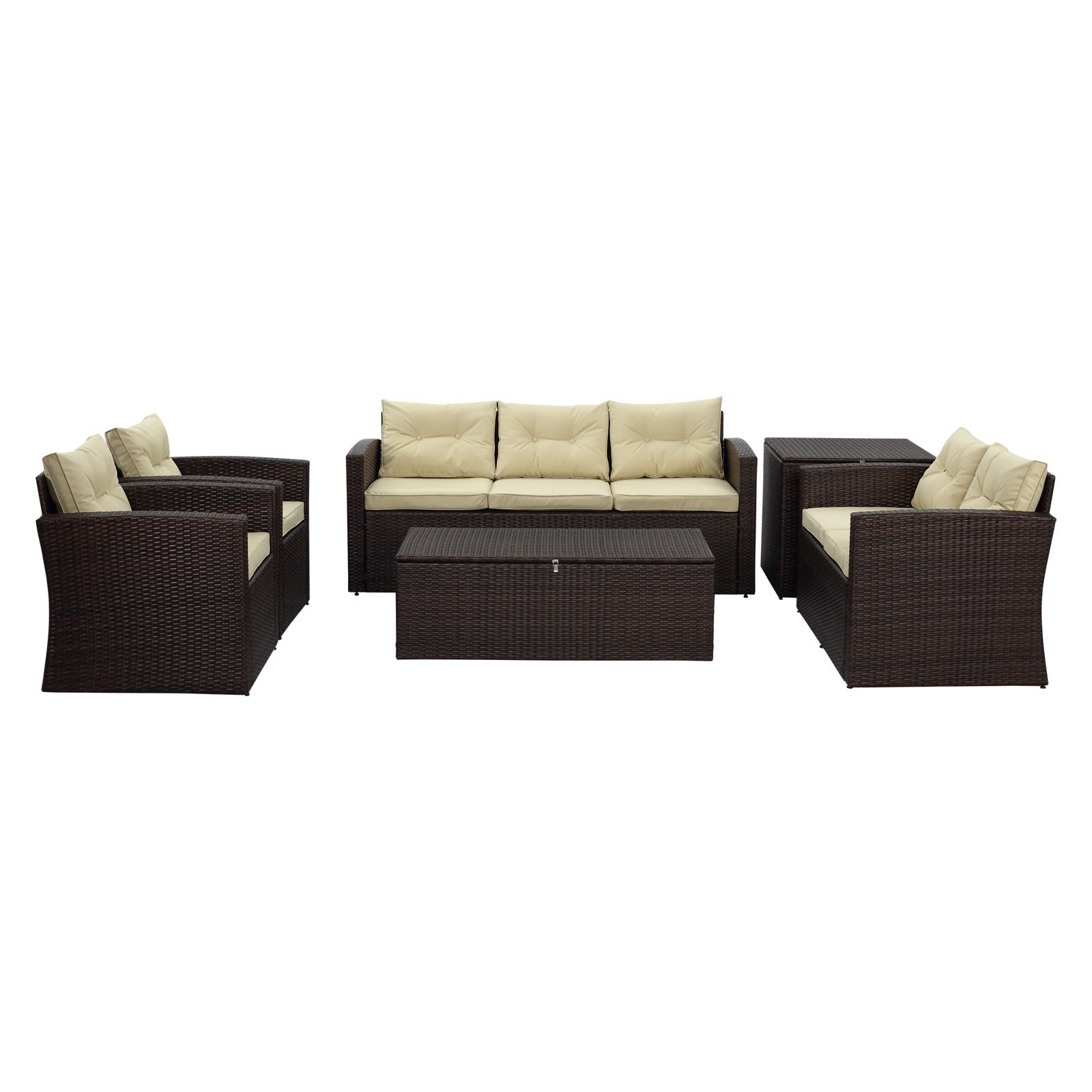 Thy-Hom Rio Wicker All-Weather 6 Piece Patio Conversation Set with Storage by The-Hom