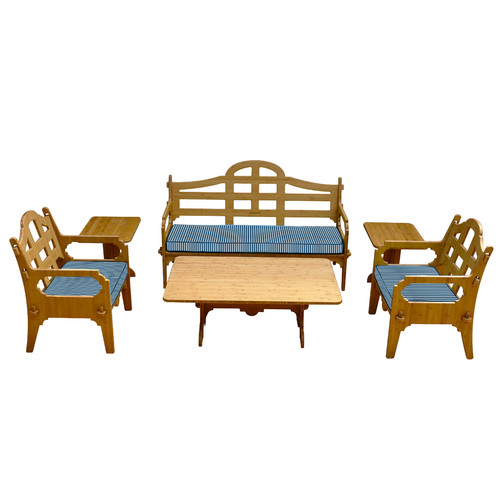 Wedgewood Furniture Palladian Striped 9 Piece Lounge Seating Group with Cushions