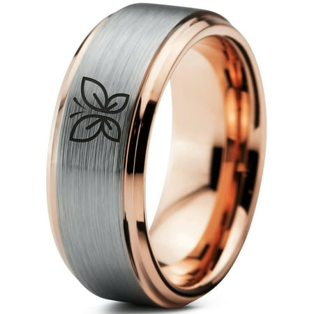 52 Step Down Ring - Tungsten Butterfly Flying Insect Flower Band Ring 8mm Men Women Comfort Fit 18k Rose Gold Step Bevel Edge Brushed Polished