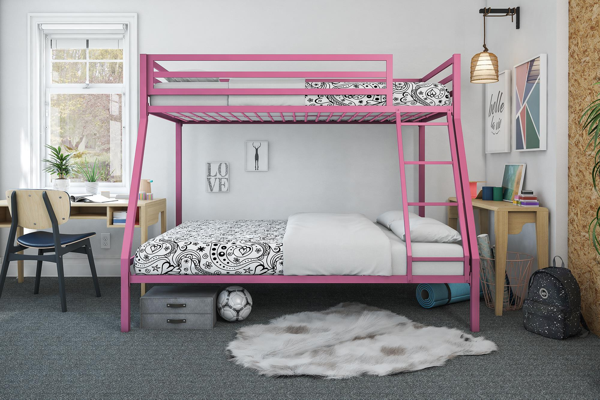 Twin Over Full Bunk Bed Double Deck Junior Kids Loft Premium Metal Frame Pink