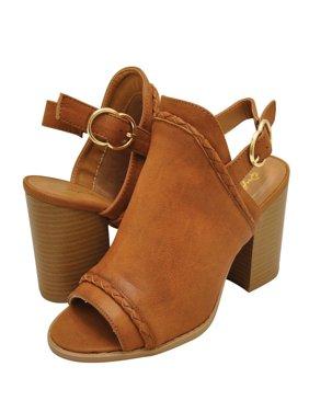 64c9232bb22 Product Image Qupid Brammer 41X Women s Peep Toe Slingback Mule Heels