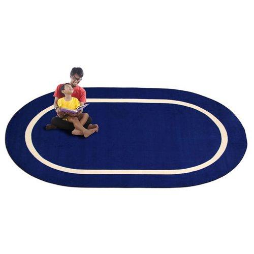 Kid Carpet Montessori Blue with Cream Line Classroom Kids Area Rug
