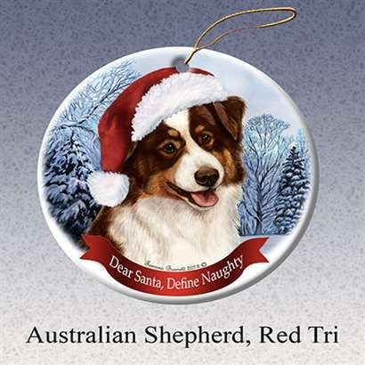 Holiday Pet Gifts Australian Shepherd (Red Tri) Santa Hat Dog Porcelain Christmas Tree Ornament
