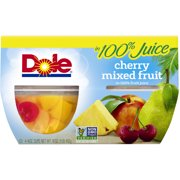 Dole Cherry Mixed Fruit in 100% Fruit Juice, 4 oz Cup, 4 Count Box