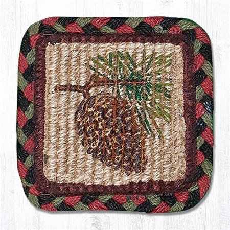 Capitol Importing 84-081P 9 x 9 in. Pinecone Wicker Weave Table Accent