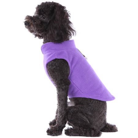 Solid Fleece Vest Soft Dog Sweater Harness With O Ring Lavender