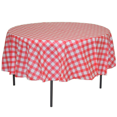 Premium 12 Pack Red & White Gingham Plastic Tablecloth, 84 Inch Round - Plastic Tablecloths Cheap