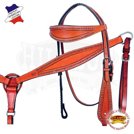 HILASON WESTERN LEATHER HORSE BRIDLE HEADSTALL BREAST COLLAR MAHOGANY