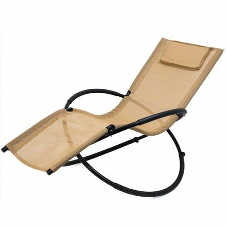Orbital Patio Chair Folding Lounger Rocking Steel Frame Tan