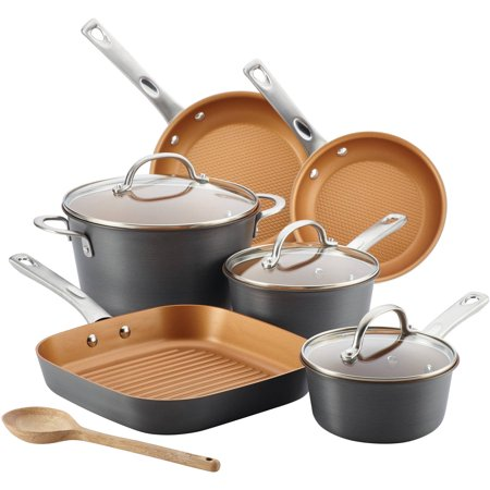 Ayesha Curry Hard Anodized Aluminum 10-Pc Cookware Set, Gray Copper