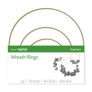 FloraCraft 3 piece Wire Wreath Ring 7.8 inch, 9.8 inch and 13.8 inch Gold