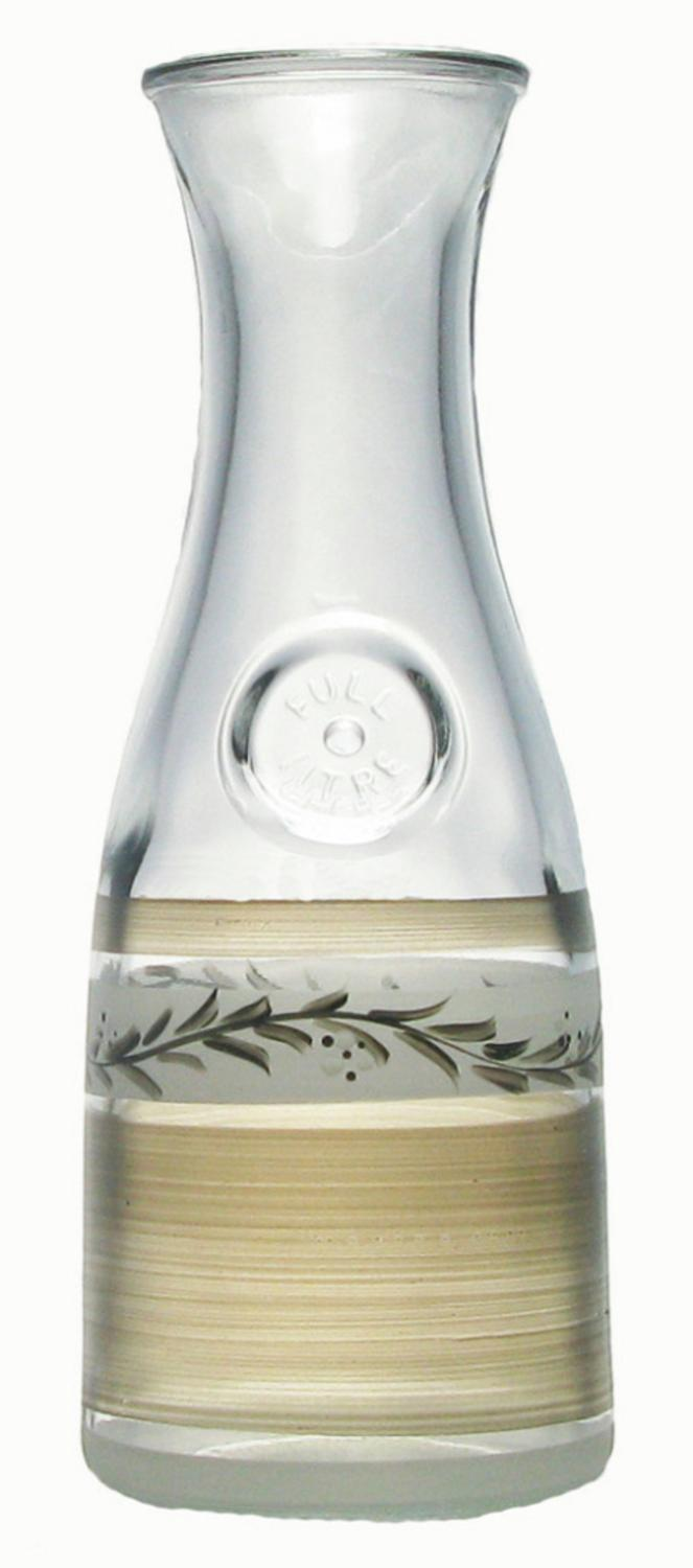 """11"""" Pewter Vine Hand Painted Glass Beverage Serving Carafe 34 Ounces by Crafted Creations"""