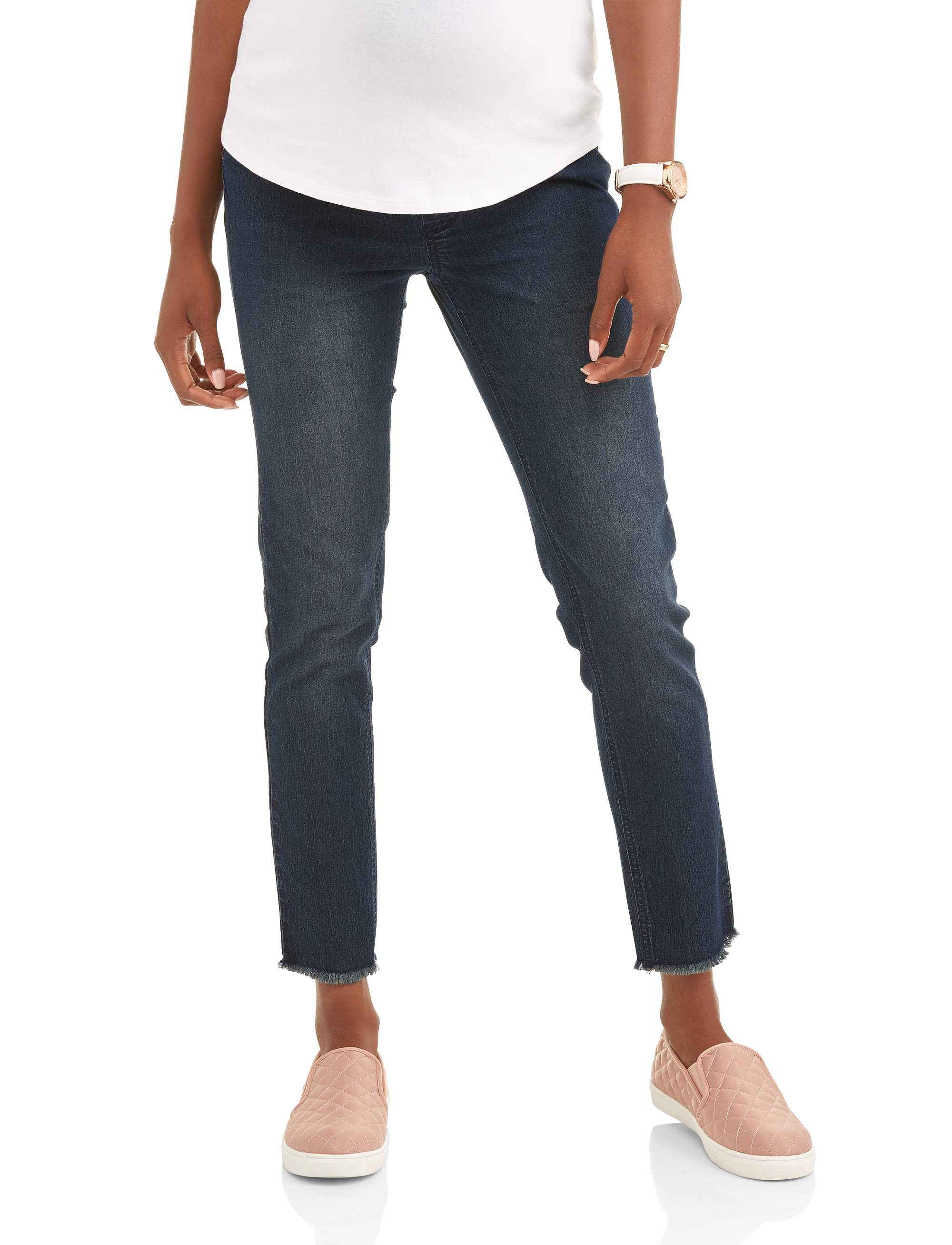 Maternity Frayed Hem Overbelly Skinny Jeans - Available in Plus Sizes