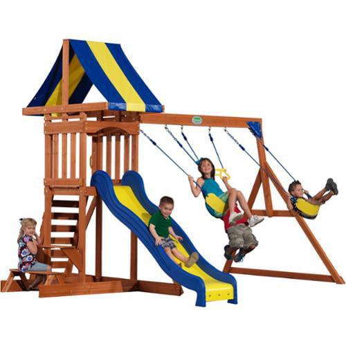 Backyard Discovery Providence Cedar Swingset with Sandbox (40112com), Brown