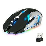 TSV Rechargeable X70/M70 2.4GHz 7 Color LED Backlit Bluetooth Wireless USB Optical Gaming Mouse Mice with Nano USB Receiver, Adjustable DPI For Computer Laptop Gamer