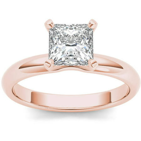 1 Carat T.W. Diamond Princess-Cut Solitaire 14kt Rose Gold Engagement Ring