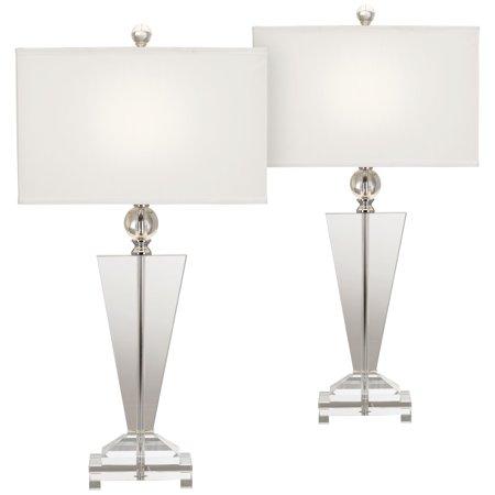 Art Deco Set Table - Vienna Full Spectrum Modern Table Lamps Set of 2 Art Deco Crystal Trophy Off White Rectangular Shade for Living Room Bedroom