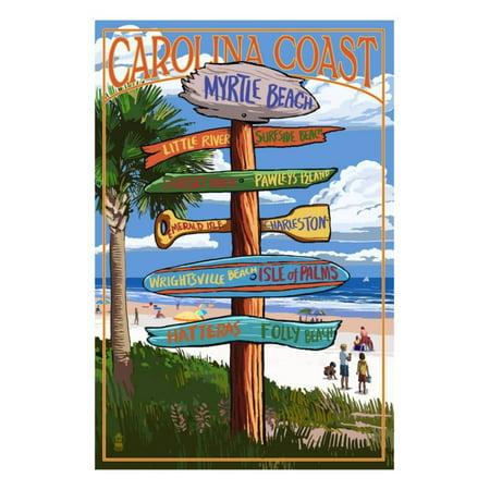 Myrtle Beach, SC - Destination Signs Print Wall Art By Lantern Press ()
