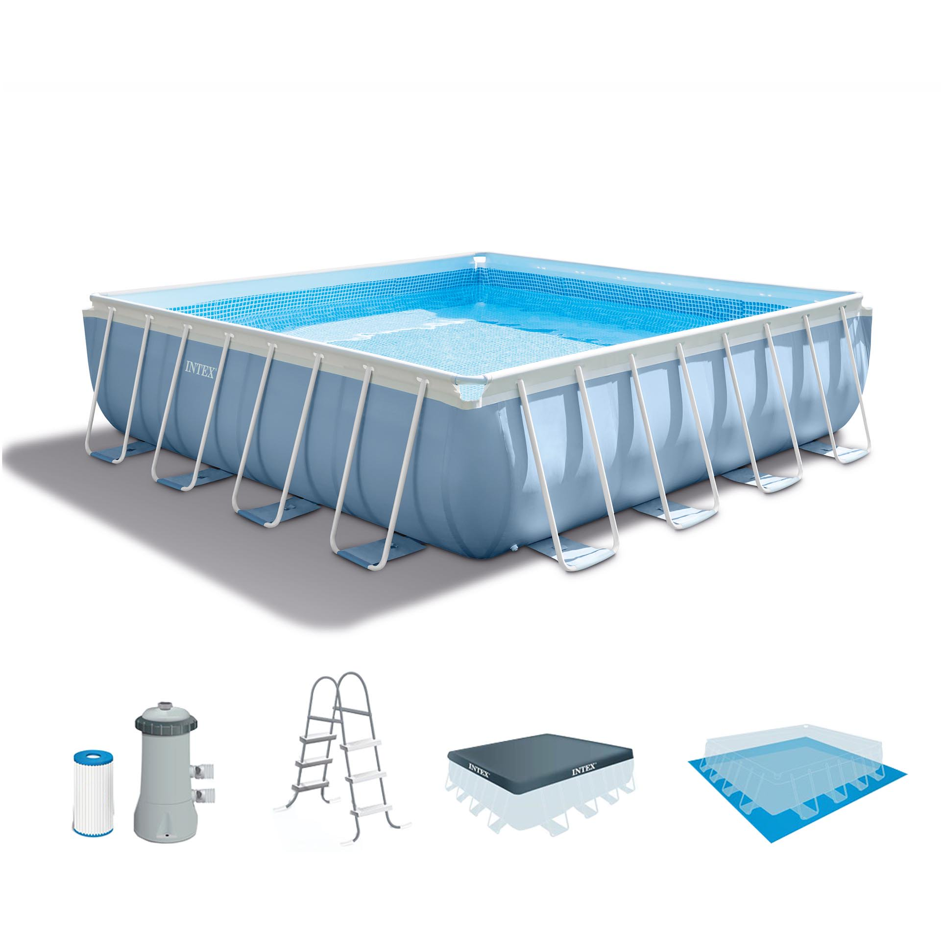 Intex 14' Above Ground Swimming Pool Set with Ladder, 1000 GPH Pump and Filter