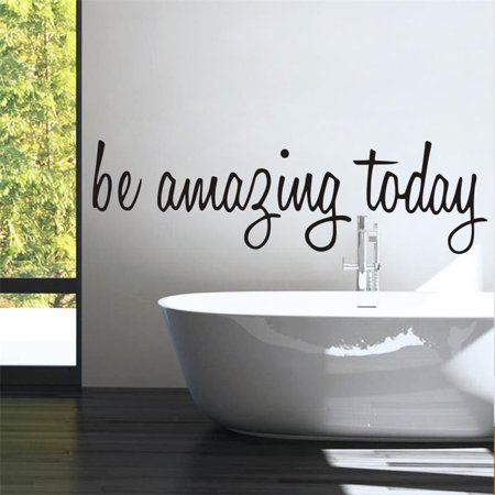 """Outgeek Be Amazing Today DECAL 17.5"""" X 5"""" Quotes Pvc Wall Decals Walls Stickers Home Decor for Bathroom Toilet Bedroom Makeup Room Mirror"""