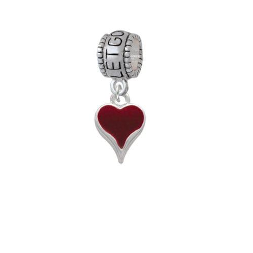 Small Long Maroon Heart - Let Go Let God Charm Bead