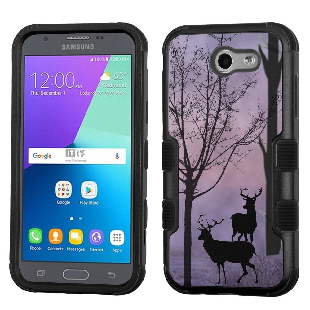 Hybrid Case for Samsung Galaxy J3 Luna Pro 4G LTE / J3 Eclipse, OneToughShield ® 3-Layer Phone Case (Black/Black) - Forest/Deer/Twilight