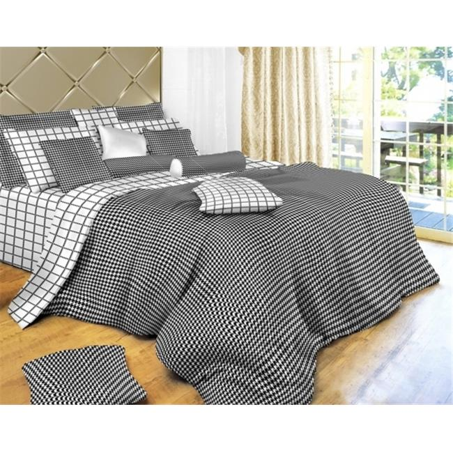 Dolce Mela DM497K Black and White Check Luxury 6 Piece Duvet Cover Set, King