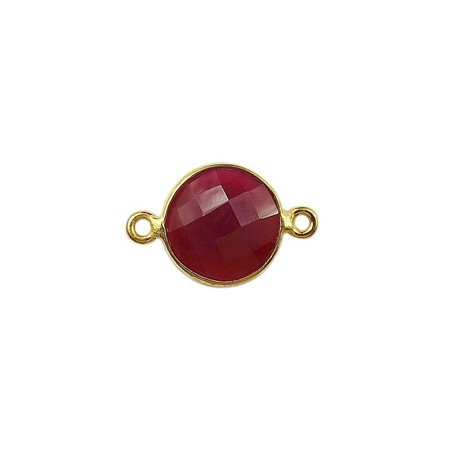 CG-341-CHR-D 18K Gold Overlay Stone Connector With Red Chalcedony
