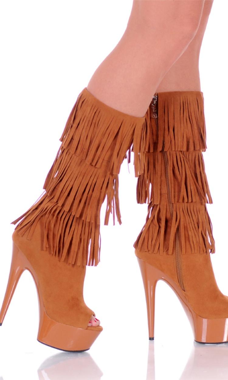"Highest Heel Women's 6"" Micro Suede Open Toe Western Boot Camel Shoes"