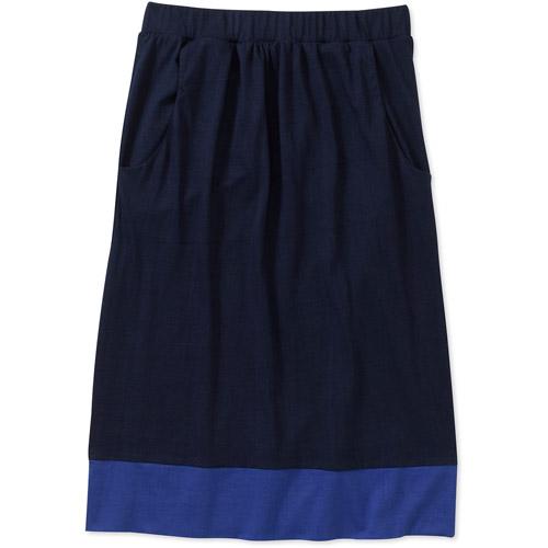 Women's Knit Pocket Front Color Block Skirt