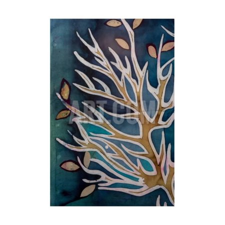 Golden Tree Branches with Leaves, Turquoise, Hot Batik, Background Texture, Handmade on Silk, Abstr Print Wall Art By Sergey Kozienko