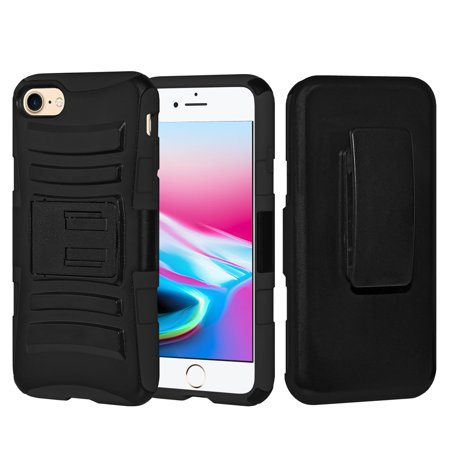 iPhone 8 Case, Rugged TUFF Hybrid Dual Layer Hard Defender Kickstand Cover with Belt Clip Holster for iPhone 8 - Black/ Black