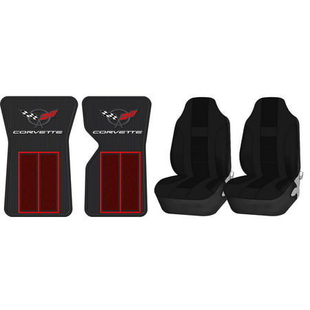 Official Licensed Corvette C3 68-82 Red Floor Mats & UAA Solid Black Universal High Back Front Seat Covers ()
