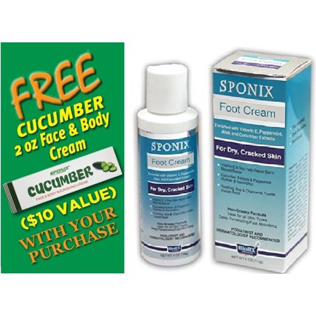 Best Foot Cream 4 Oz (113 g) - For Dry, Cracked Skin - Bottle - with FREE Cucumber Face & Body Nourishing Cream by